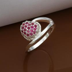 Vienna Jewelry Sterling Silver Ruby Red Pav'e Swirl Ring Size: 8 - Thumbnail 0