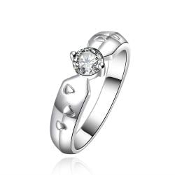 Vienna Jewelry Sterling Silver Crystal Closing Petite Ring Size: 8 - Thumbnail 0