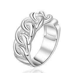 Vienna Jewelry Sterling Silver Interlocking Chain Ring Size: 7 - Thumbnail 0