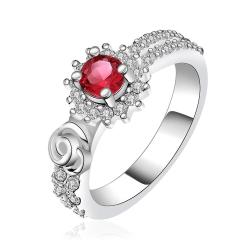 Vienna Jewelry Sterling Silver Petite Ruby Red Jewels Covering Petite Ring Size: 8 - Thumbnail 0
