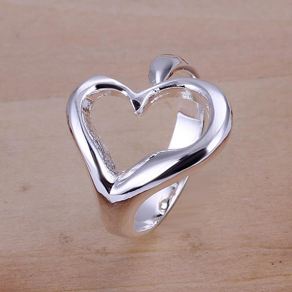 Vienna Jewelry Sterling Silver Curved Hollow Heart Petite Resizable Ring
