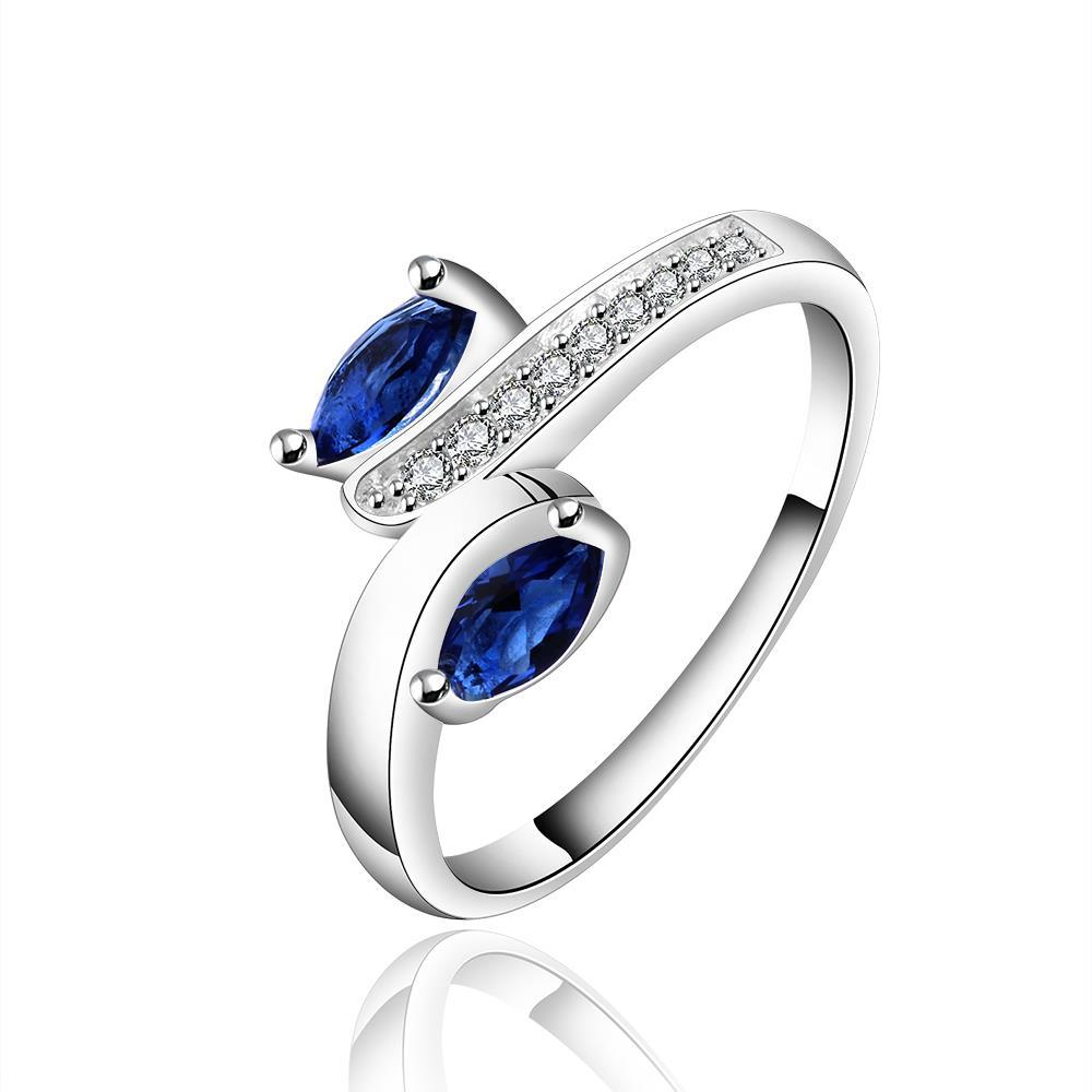 Vienna Jewelry Sterling Silver Duo Petite Sapphire Gem Abstract Ring Size: 7