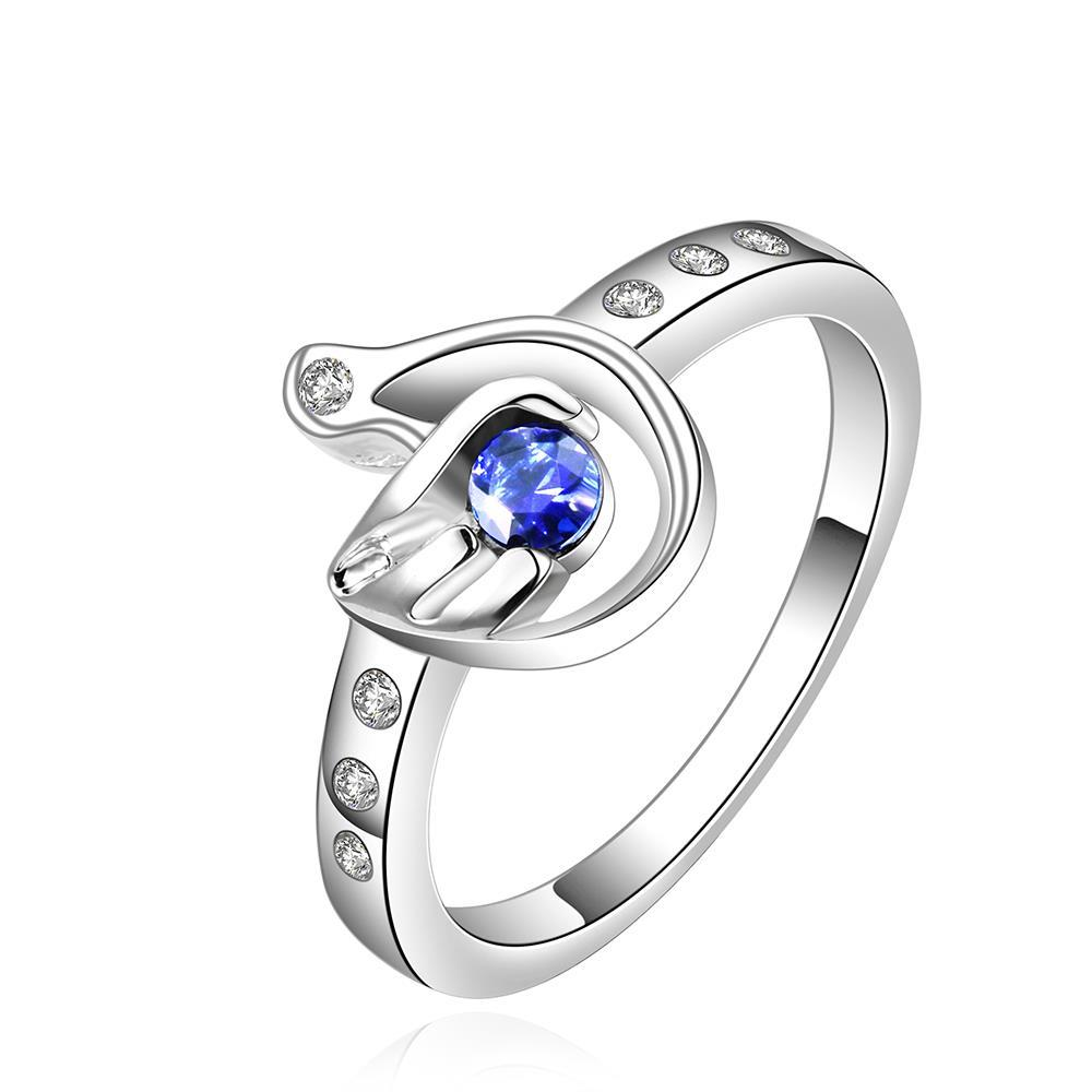 Vienna Jewelry Sterling Silver Petite Mock Sapphire Curved Ring Size: 7