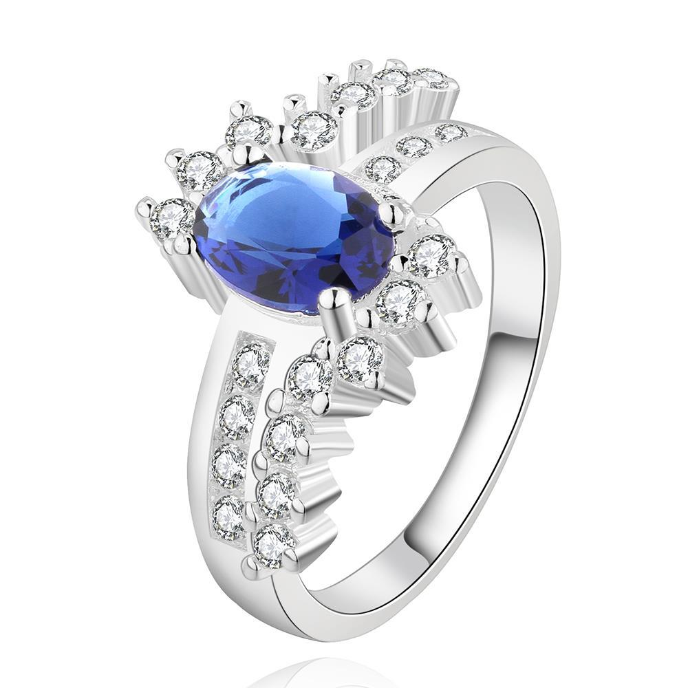 Vienna Jewelry Sterling Silver Mock Sapphire Spiral Jewels Petite Ring Size: 7