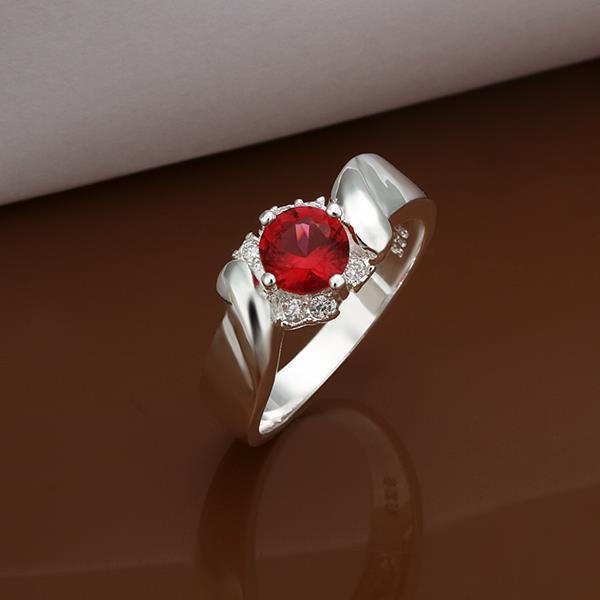 Vienna Jewelry Sterling Silver Ruby Red Curved Crystal Ring Size: 8