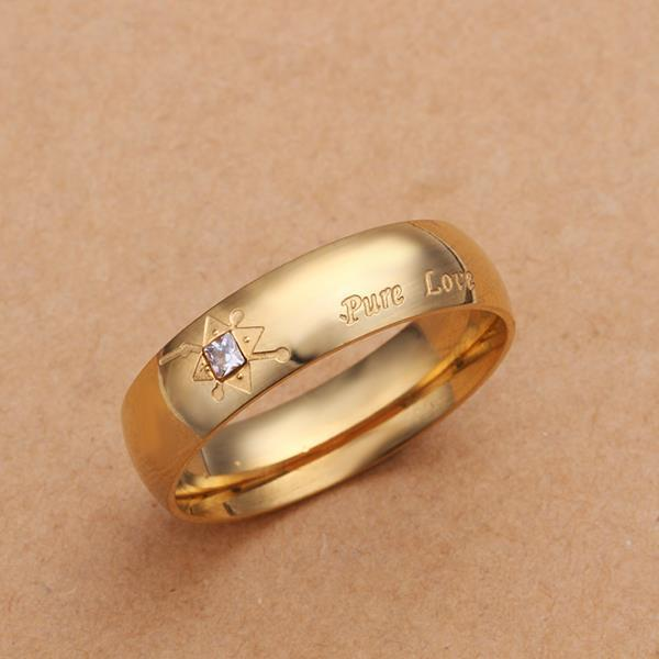 Vienna Jewelry Gold Coloring Pure Love Lining Petite Ring Size: 8