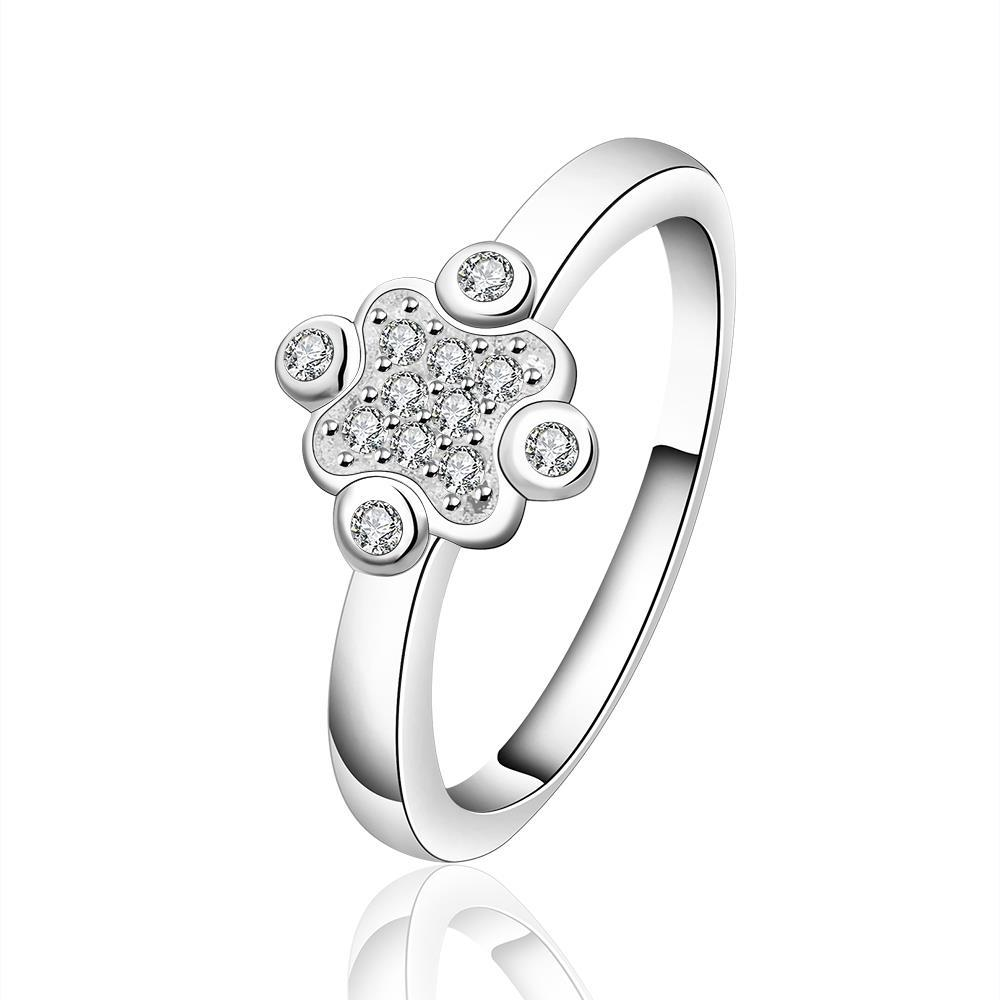 Vienna Jewelry Sterling Silver Crystal Clover Petite Ring Size: 7