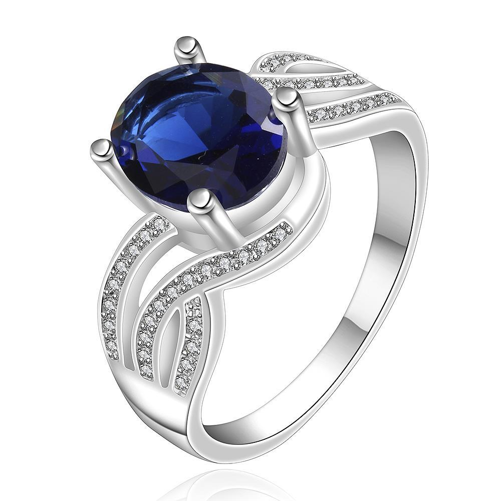 Vienna Jewelry Sterling Silver Sapphire Curved Jewels Petite Ring Size: 8
