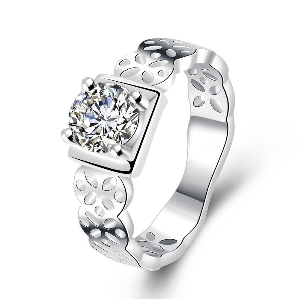 Vienna Jewelry Sterling Silver Laser Cut Band with Crystal Square Petite Ring Size: 8