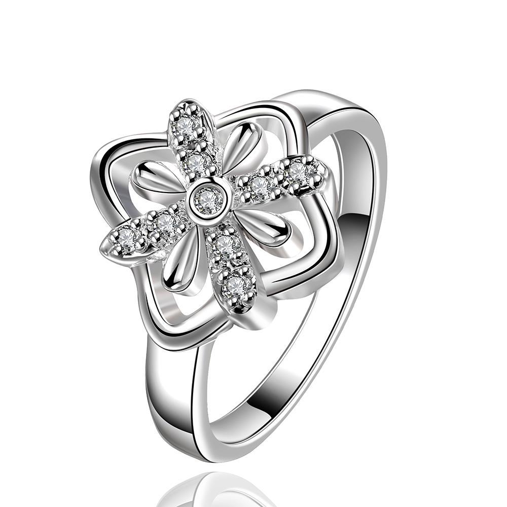 Vienna Jewelry Sterling Silver Blossoming Clover Petite Ring Size: 8