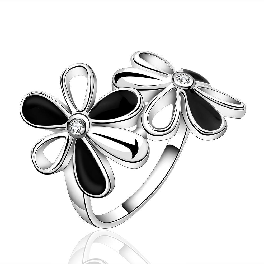 Vienna Jewelry Sterling Silver Duo-Onyx Floral Petal Ring Size: 7