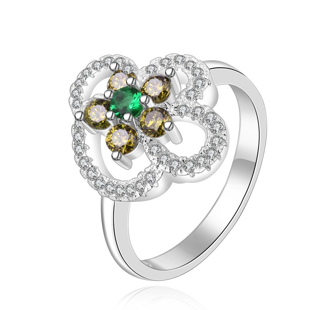 Vienna Jewelry Sterling Silver Emerald Clover Shaped Ring Size: 8