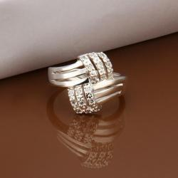 Vienna Jewelry Sterling Silver Trio-Lined Crystal Covering Ring Size: 8 - Thumbnail 0