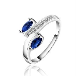 Vienna Jewelry Sterling Silver Duo Petite Sapphire Gem Abstract Ring Size: 7 - Thumbnail 0