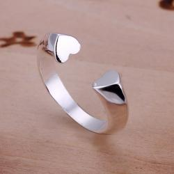Vienna Jewelry Sterling Silver Open Clasp Petite Heart Shaped Resizable Ring - Thumbnail 0