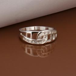 Vienna Jewelry Sterling Silver Laser Cut Interlocking Petite Ring Size: 8 - Thumbnail 0