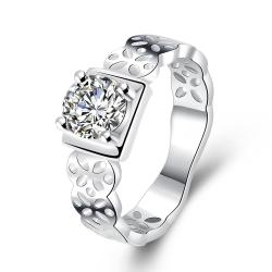 Vienna Jewelry Sterling Silver Laser Cut Band with Crystal Square Petite Ring Size: 7 - Thumbnail 0