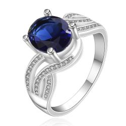Vienna Jewelry Sterling Silver Sapphire Curved Jewels Petite Ring Size: 8 - Thumbnail 0
