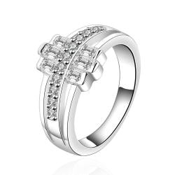 Vienna Jewelry Sterling Silver Trio-Lined Crystal Lining Petite Ring Size: 7 - Thumbnail 0