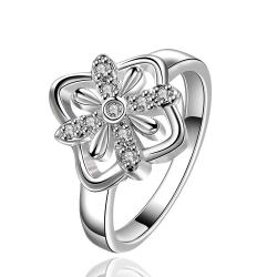 Vienna Jewelry Sterling Silver Blossoming Clover Petite Ring Size: 8 - Thumbnail 0