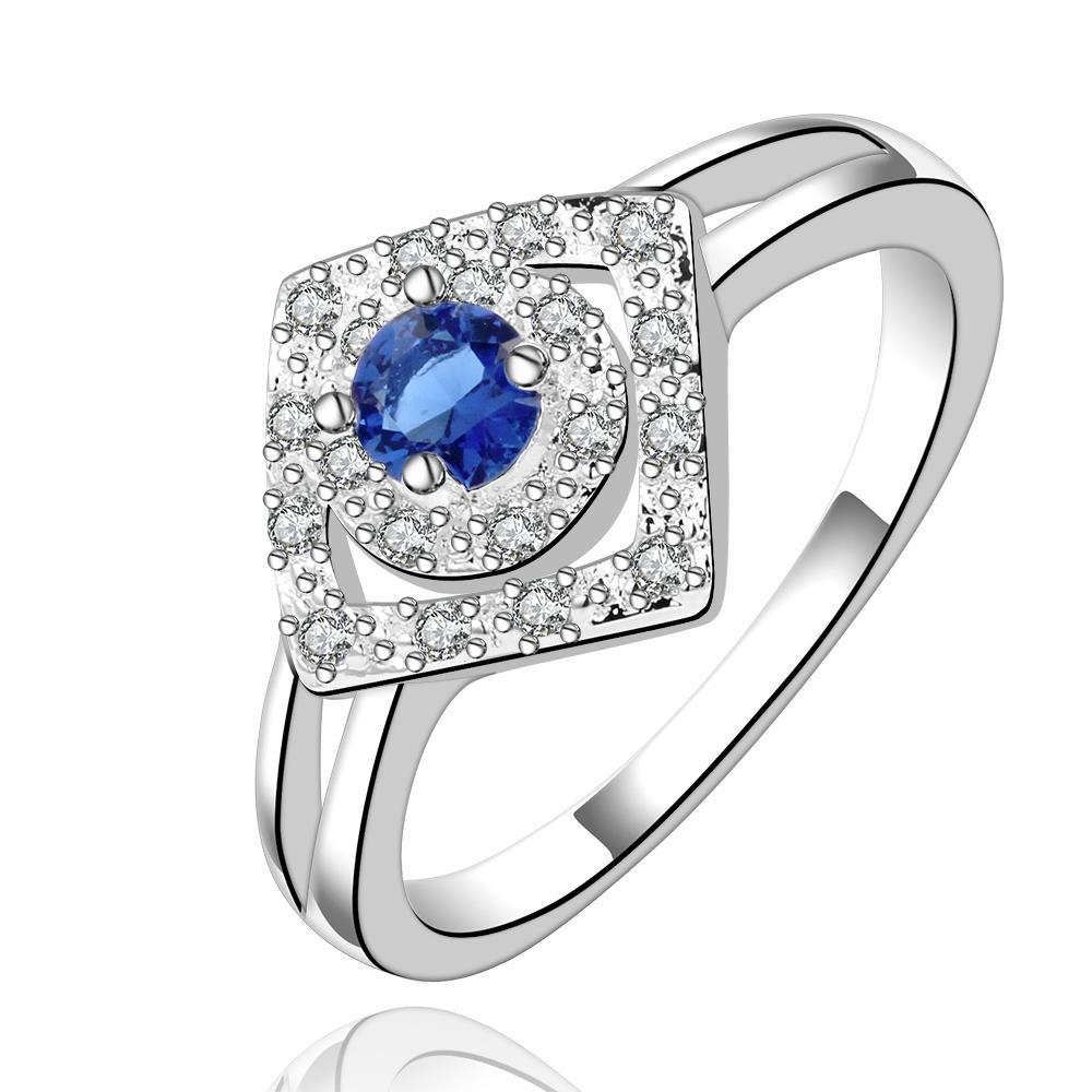 Vienna Jewelry Sterling Silver Diamond Shaped Sapphire Petite Ring Size: 8