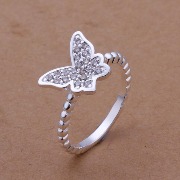 Vienna Jewelry Sterling Silver Open Butterfly Shaped Petite Ring Size: 8