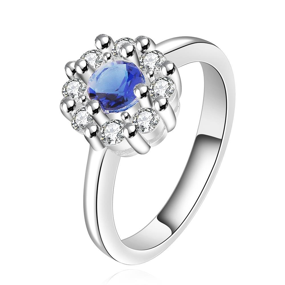 Vienna Jewelry Sterling Silver Mock Sapphire Blossoming Ring Size: 7