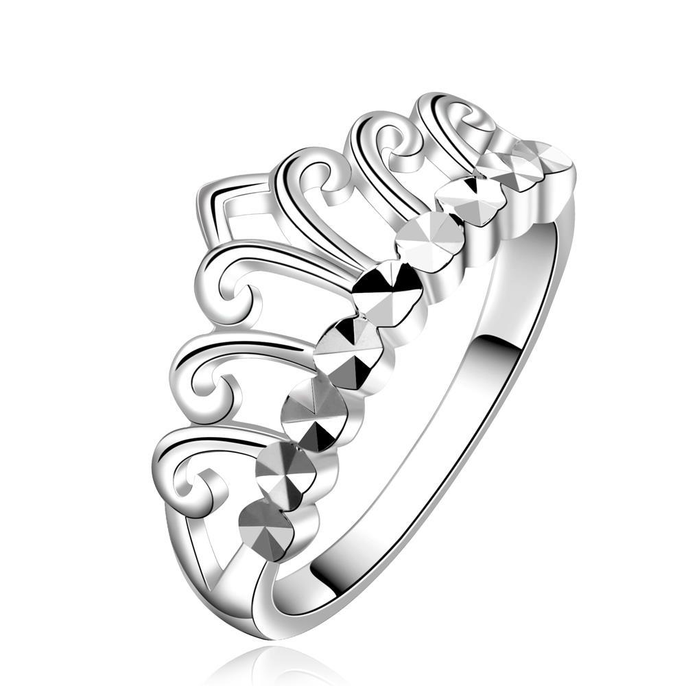 Vienna Jewelry Sterling Silver Hollow Laser Cut Princess Ring Size: 8