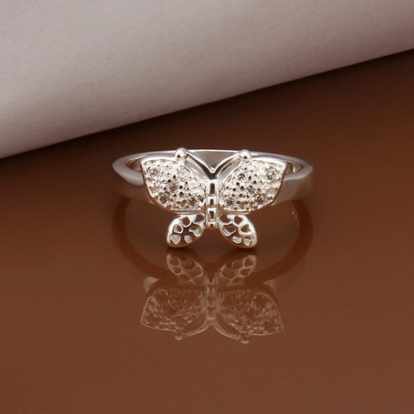Vienna Jewelry Sterling Silver Petite Laser Cut Petite Butterfly Ring Size: 8