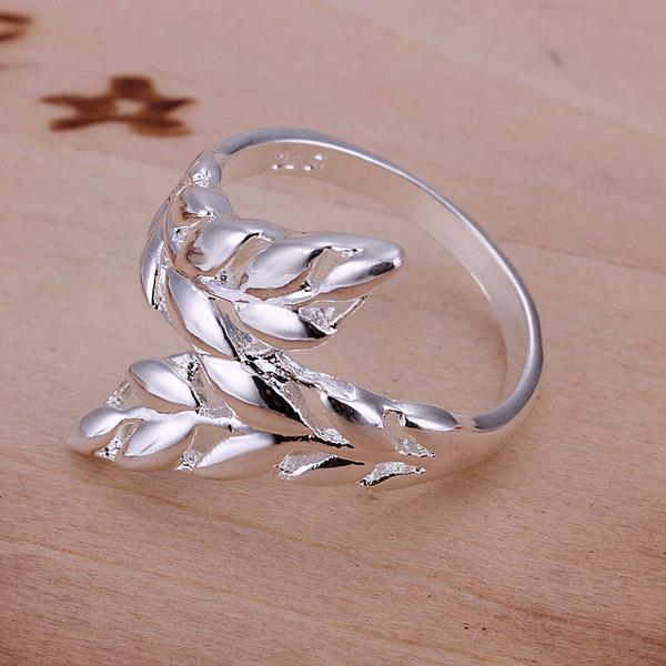Vienna Jewelry Sterling Silver Duo-Leaf Branch Modern Ring Size: 8