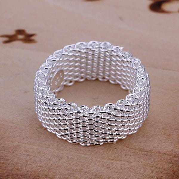 Vienna Jewelry Sterling Silver Mesh Ring Size: 7