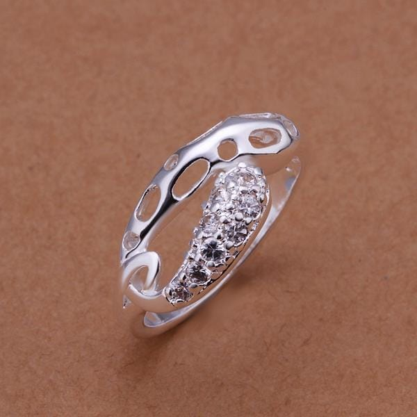 Vienna Jewelry Sterling Silver Laser Cut & Crystal Jewels Classic Ring Size: 8