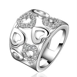 Vienna Jewelry Sterling Silver Heart Shaped Modern Ring Size: 8 - Thumbnail 0