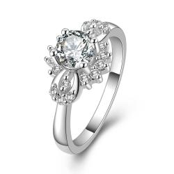 Vienna Jewelry Sterling Silver Classic Crystal Orchid Petite Ring Size: 8 - Thumbnail 0