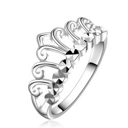 Vienna Jewelry Sterling Silver Hollow Laser Cut Princess Ring Size: 7 - Thumbnail 0