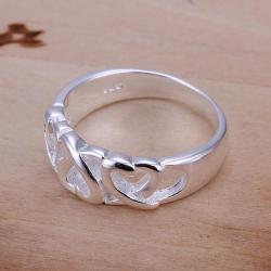 Vienna Jewelry Sterling Silver Interlocking Heart Design Petite Ring Size: 7 - Thumbnail 0