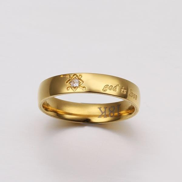 Vienna Jewelry Classical Gold Tone God Is Love Ring Size: 6