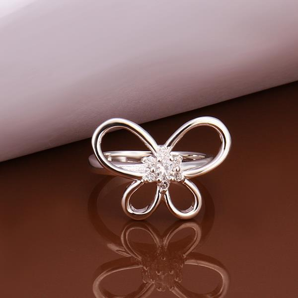 Vienna Jewelry Sterling Silver Petite Hollow Butterfly Ring Size: 8