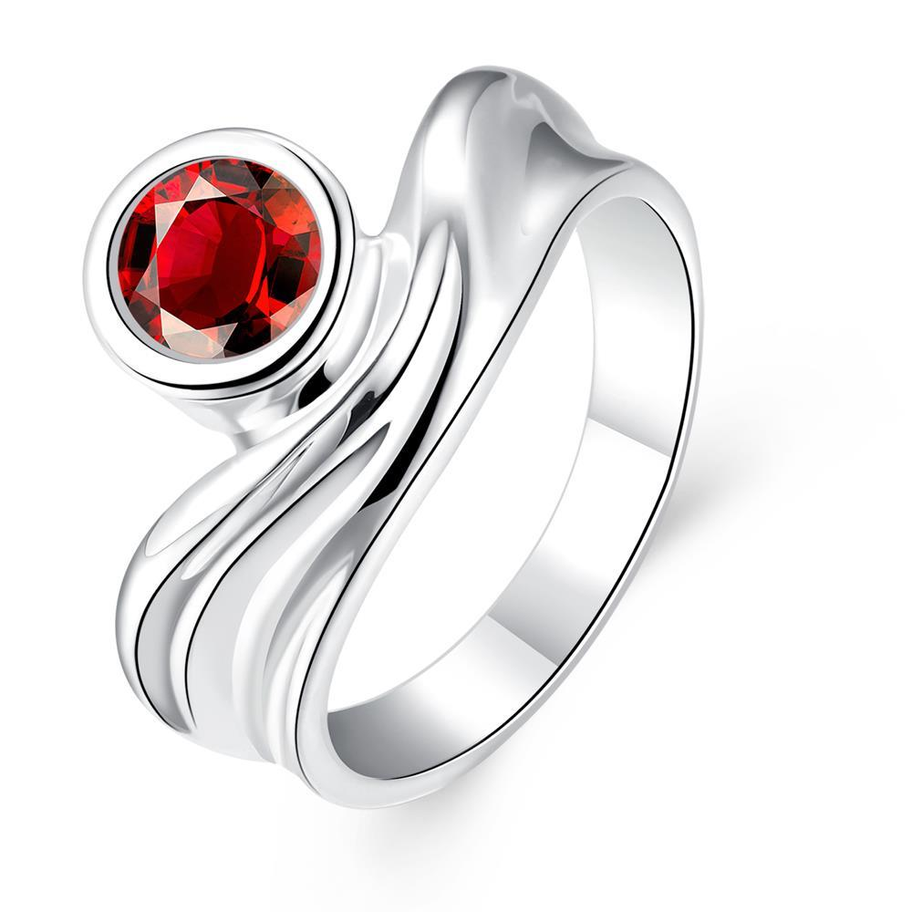 Vienna Jewelry Sterling Silver Petite Ruby Gem Swirl Abstract Ring Size: 8