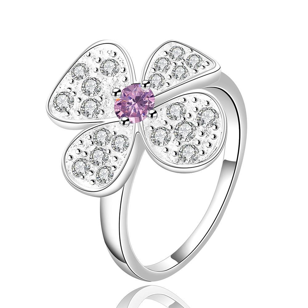 Vienna Jewelry Sterling Silver Purple Citrine Blossoming Clover Petite Ring Size: 7