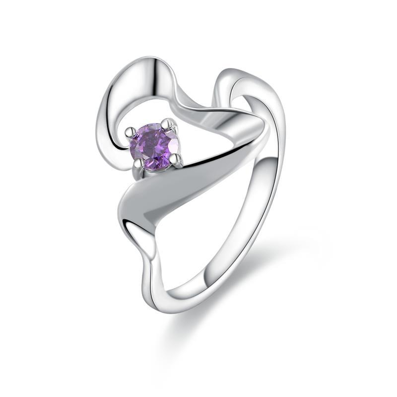 Vienna Jewelry Sterling Silver Purple Citrine Abstract Curved Petite Ring Size: 8