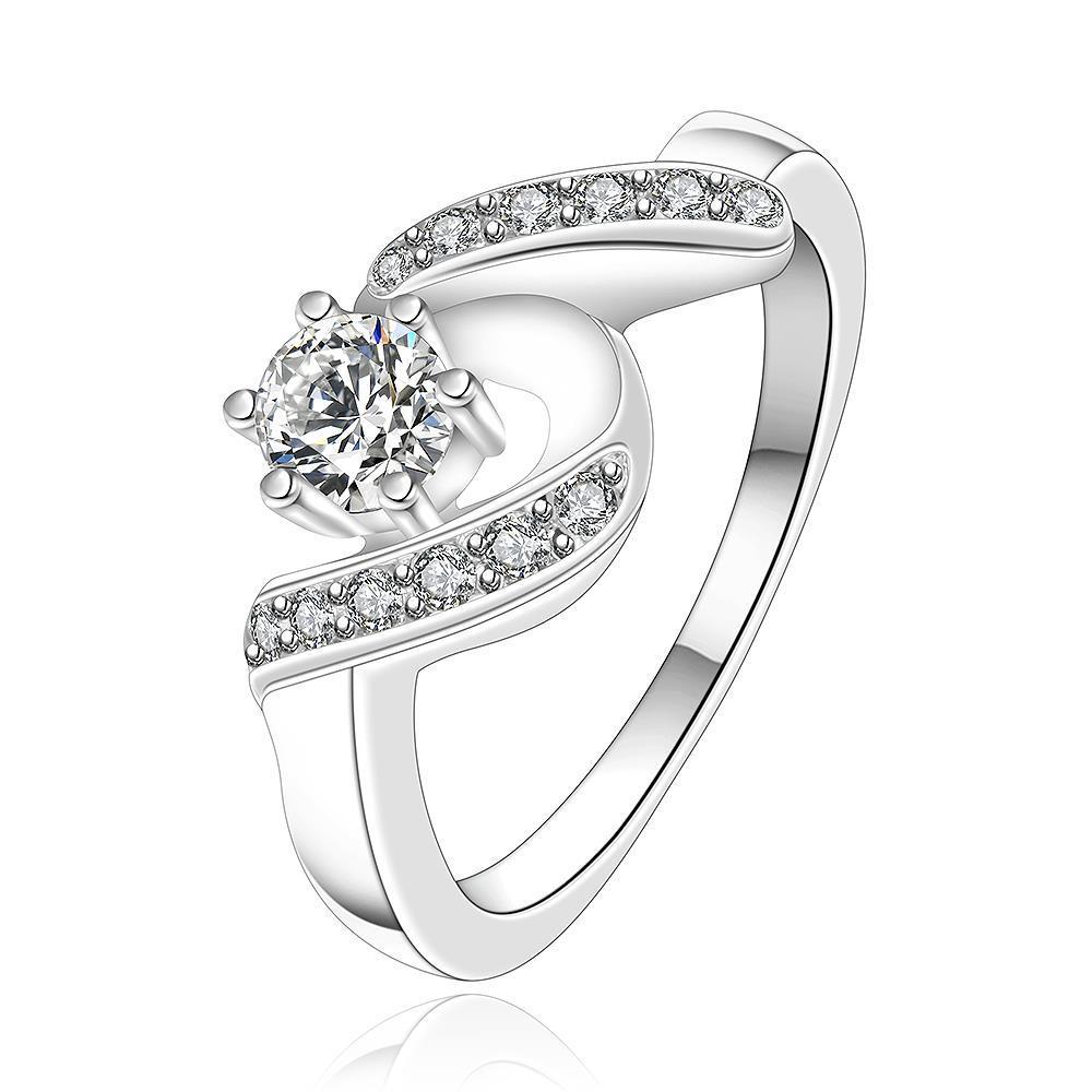 Vienna Jewelry Sterling Silver Jewel Crystal Swirl Design Petite Ring Size: 8