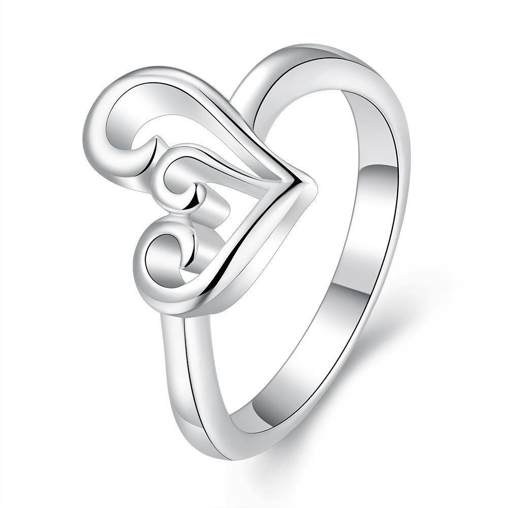 Vienna Jewelry Sterling Silver Abstract Curved Heart Shaped Petite Ring Size: 8