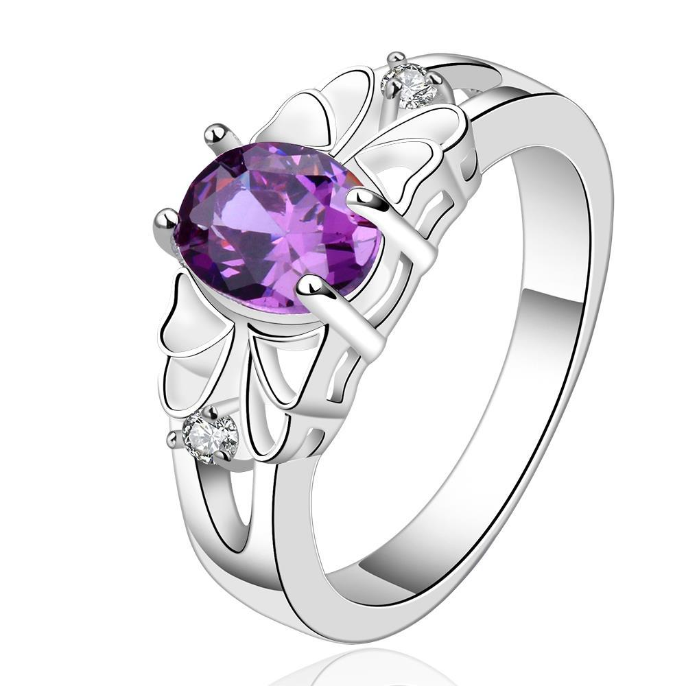 Vienna Jewelry Sterling Silver Purple Citrine Classical Wedding Ring Size: 8
