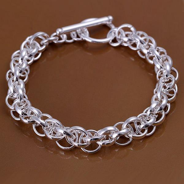 Vienna Jewelry Sterling Silver Interconnected Chain Bracelet