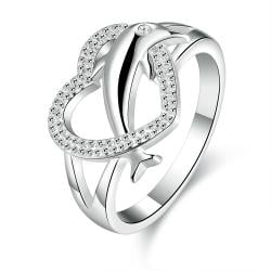 Vienna Jewelry Sterling Silver Curved Heart Shaped Ring Size: 7 - Thumbnail 0