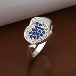 Vienna Jewelry Sterling Silver Mock Sapphire & Jewels Covering Heart Ring Size: 8 - Thumbnail 0