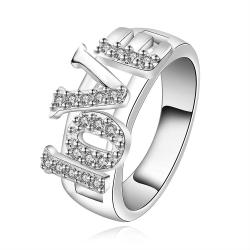 Vienna Jewelry Sterling Silver Love Ingrain Crystal Layering Ring Size: 7 - Thumbnail 0