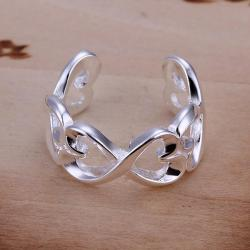 Vienna Jewelry Sterling Silver Open Clasp Trio-Heart Design Petite Resizable Ring - Thumbnail 0