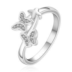 Vienna Jewelry Sterling Silver Duo-Butterfly Emblem Ring Size: 7 - Thumbnail 0